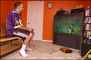 Jay Lane Playing Madden Video Game